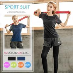 大きいサイズ対応 送料無料 スポーツウェア2点セット スポーツウェア レディース 上下セット 半袖/長袖 Tシャツ 一体型