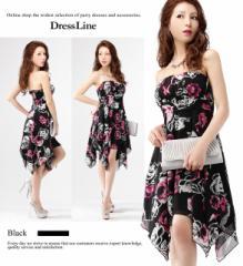 【4サイズ】ブラック×ラズベリーフラワープリント ベアトップワンピースドレス キャバ お呼ばれ XLサイズ 大きいサイズ