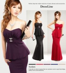 【送料無料】【4サイズ】ベアトップペプラム×マーメイドスカート 2Pロングドレス[パーティードレス キャバ タイト 大きいサイ