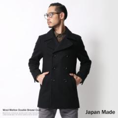 Pコート メンズ ウール メルトン ピーコート 日本製 国産 ミディアム丈 ダブルブレスト ビジネス カジュアル 6284 【pre_d】