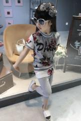 【即納】 セットアップ 上下セット スカート付きレギンス 半袖 花柄 メッシュ 子供 キッズ 子供服 20