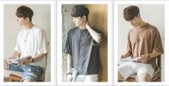 韓国風 夏用★涼しい 七分袖  メンズTシャツ Uネック ファッション ゆっくり感 少年 学院風 素敵な新作 B-21