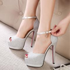 パンプスオープントゥ 厚底 ピンヒール ハイヒール  チャーム付き フェイクレザー レディース 靴 美脚 痛くない 結婚式 G-11