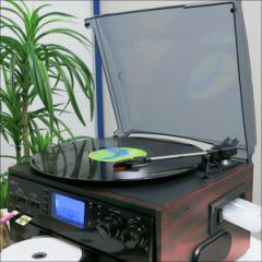送料無料★木目調 レコードプレーヤー レコード/CD/ラジオ多用途型 S-01■ 多機能プレーヤー 木目調プレーヤー 再生・録音
