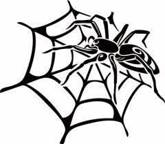 カッティングステッカー 車 バイク カッコイイ 目立つ カスタム カー【スパイダー クモ(蜘蛛) トライバル ・14(左向き)】【メール便】