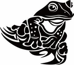 カッティングステッカー 車 バイク カッコイイ オシャレ 目立つ カスタム カー【カエル(蛙) トライバル ・9(右向き)】【メール便】
