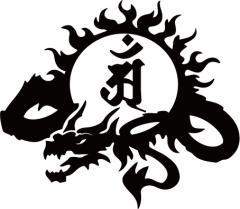 カッティングステッカー -【干支梵字 アン 普賢菩薩 (辰・巳) (たつ・へび) ドラゴン dragon 龍 (左向き)・9L】【メール便】