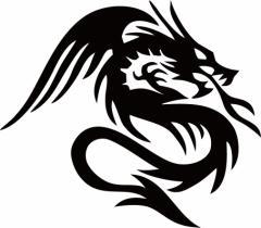 カッティングステッカー 車 バイク カワイイ オシャレ カッコイイ ワンポイント【ドラゴン 龍 トライバル 1・5(右向き)】【メール便】