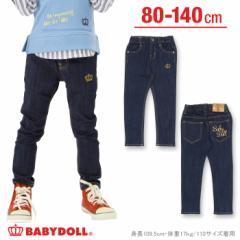 NEW 刺繍デニムロングパンツ-ベビーサイズ キッズ ジーンズ ジーパン ベビードール 子供服-9713K