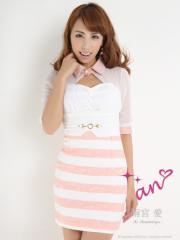 SD1406-012【送料無料】【an】アン/シフォンスリーブレース襟付きボーダーミニドレス【AOC-1760】Pink