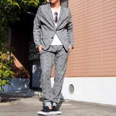 洗練されたグレンチェック柄のテーラードジャケット&ジョガーパンツのセットアップコーディネート