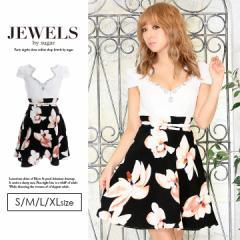 キャバ ドレス ミニ ドレス/Sサイズ  Lサイズ XLサイズ 大きいサイズ/ブラック ホワイト/Aライン フレア ワンピース/花柄 [5978SB-1611]