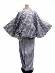 丸洗いできる着物/帯のいらない着物/二部式★洗える二部式(袷)★グレー地 格子 柄 no87