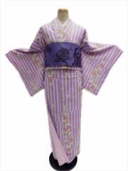 翌日発送可能 家でも簡単に洗える  リョウコキクチ RK 洗える着物(袷)小紋 淡紫地 市松 縞 小桜 柄no252