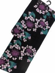 京都で一番浴衣を販売する小売屋さんお薦め 仕立て上がり浴衣  対応身長 153cm-168cm 変わり織 黒地 淡紫 ガクアジサイ 柄no29053