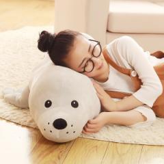【送料無料】ぬいぐるみ アザラシ クッション プレゼント女性 昼休み お誕生日プレゼント ふわふわ 動物 抱き枕120cm