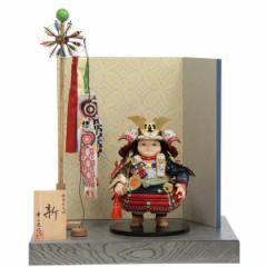 五月人形 平飾り子ども大将 新 幅45cm  ya-125ko 幸一光 江戸唐紙屏風   鯉のぼり付
