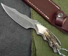義(よし) K-5 刃長:70mm  ダマスカス鹿角ナ...
