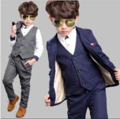 お買い得キッズ男の子フォーマルスーツ上下セット 子供服 ジャケット+ベスト+シャツ+パンツ4点セット 結婚式 発表式 入学式
