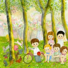 マリーニ*モンティーニ 限定インクジェットプリント・直筆サイン入り 「リンゴの木サイクリング記念写真」ARTBOX限定