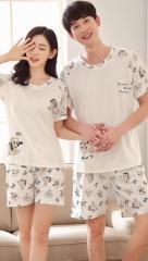 恋人パジャマ  寝巻き かわいい パジャマ レディース メンズ 部屋着 ペアルック カップルお揃い ペアパジャマ 綿 半袖 上下セット