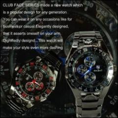 腕時計 メンズ Club Face クラブフェイス イミテーションクロノグラフデザイン ブラックメタルバンド メンズウォッチ 【送料無料】