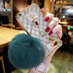 スマホカバーiPhone7/iPhone7Plus iPhone6s/iPhone6 Plusケースふわふわファー付スマホケースアイフォン7プラスSJ5−5 翌日発送