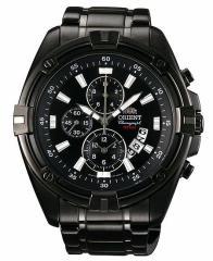 ORIENT【オリエント】メンズ腕時計 クロノグラフ ブラック文字盤 ブラックメタルベルト MADE IN JAPAN 海外モデル STT0Y001B0