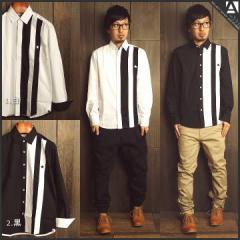 シャツ メンズ 長袖 定番 シンプル ライン インナー 秋 冬 春  白 ホワイト 黒 ブラック a320