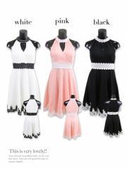 【 ウエストを細く魅せるライン♪】【Tika ティカ】刺繍デザイン胸あきホルターネックミニドレス