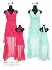 【Tikaティカ】レース×シフォンフィッシュテールロングドレス中ミニドレス大きいサイズ有[S/M/L/2L/3L/4L][ピンク/緑]
