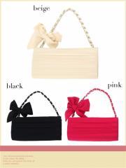 【Tika ティカ】リボンモチーフチェーンハンドバッグパーティーバッグ結婚式二次会キャバ[ピンク/黒/ベージュ]