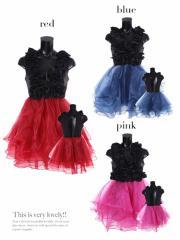 【Tika ティカ】背中魅せバイカラーチュールフレアミニドレスパーティードレス結婚式ドレスキャバドレス大きいサイズ[L][黒/赤/紺]