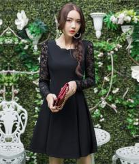 【再入荷】結婚式パーティードレス袖あり異素材切...