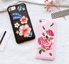 [予約]刺繍スマホケースiphone6/6s iphone6/6s plus iphone7 iphone7plus アイフォンカバー PUレザー