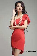 即納SALE結婚式ドレスお呼ばれワンピースアシンメトリーワンショルダー肩フリルタイトミニワンピ[L][赤]