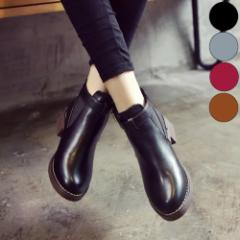 【予約】 靴 ブーティー ブーツ ショートブーツ レディース サイドゴア 黒 ブラック ラウンドトゥ ローヒール