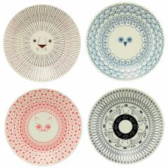 ミッケ 動物柄 プレート Lサイズ 皿 大皿 日本製 和食器 磁器 / ライオン フクロウ ネコ シロクマ