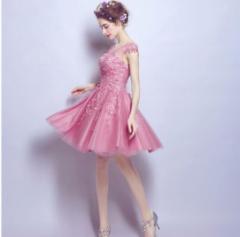 ミニドレス ショート丈 パーティードレス ノースリーブ ウェディング 結婚式 二次会 披露宴 編み上げ ピンク カラードレス