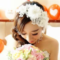 二次会 パーティー ウェデイング ブライダル 結婚式 ドレスも和服にもよく似合うウェディング髪飾り ヘッドドレス