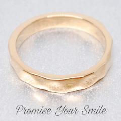 刻印入り 「PromiseYourSmile」レーザー刻印 ゴールデンウェーブ リング K18仕上げ K18GP 指輪 new
