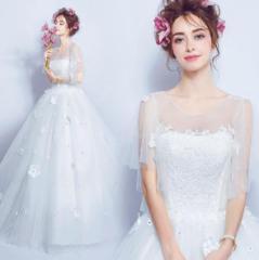 ウェディングドレス パーティードレス 着痩せ 二次会 結婚式 披露宴  司会者 ホワイト ロングドレス