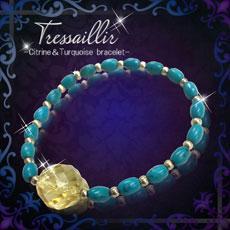 金運急激上昇ブレス【Tressillir -トレサイーユ-】Citrine & Turquoise Bracelet