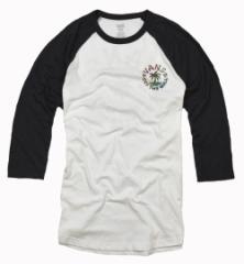 バンズ Tシャツ メンズ 七分袖 カットソー ロゴ ラグラン  vans 正規 vn0a2z2dyb2 クルーネック