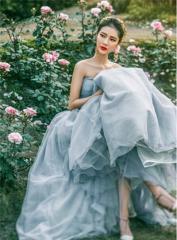 カラードレス ロング 二次会 パーティードレス 花嫁 ウェディングドレス 結婚式 演奏会 ウエディングドレス 大きいサイズ
