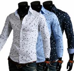 メンズ ワイシャツ 長袖シャツ ビジネスオフィス通勤 トップス 細身カジュアル ブラウス  ベーシック 紳士 ポロシャツ 星柄 総柄 Yシャツ