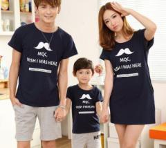 親子ペア メンズ レディース半袖Tシャツパパママ子供家族お揃い親子ペアルック ひげプリント