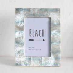 【マリン雑貨】 翌日出荷 カピスフォトフレーム サンディービーチ ブルー フォトフレーム 海 マリン インテリア 写真立て