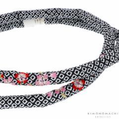 丸ぐけ 帯締め「黒色 桜の刺繍」正絹絞り 七五三に 正絹帯締め