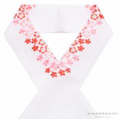 刺繍 半衿「白色 赤、ピンクの桜刺繍」 七五三に 刺繍半襟